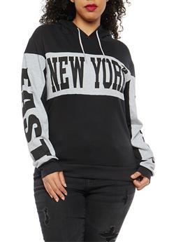 Plus Size Graphic Hooded Sweatshirt - 1912033877855
