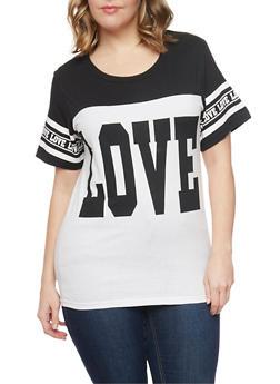 Plus Size Love Graphic Color Block Top - BLACK - 1912033878001