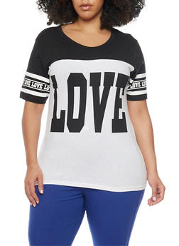 Plus Size Short Sleeve Graphic Top - 1912033878116
