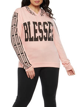 Plus Size Blessed Graphic Hooded Top - 1912033878228