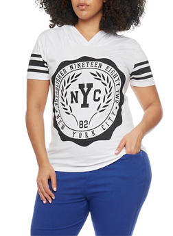 Plus Size Short Sleeve NYC Graphic Hooded Top - WHITE - 1912033878275