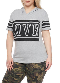 Plus Size Love Graphic Hooded Top - 1912033878325