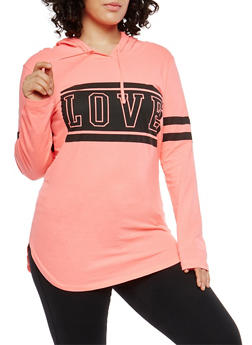 Plus Size Love Graphic Hooded Top - 1912033878329