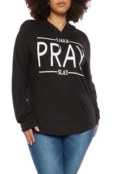 Plus Size Wake Pray Slay Graphic Sweatshirt - 1912033878408
