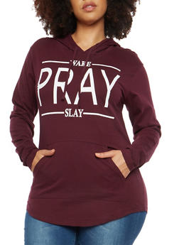 Plus Size Wake Pray Slay Graphic Sweatshirt - 1912033878408