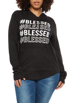 Plus Size Blessed Graphic Hooded Sweatshirt - 1912033878478
