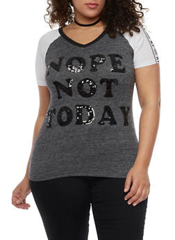 Plus Size Sequined Nope Not Today Graphic Raglan Tee - 1912033878536