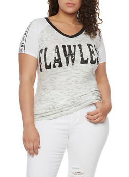 Plus Size Sequined Flawless Graphic Top - 1912033878537