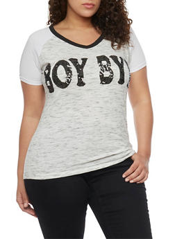Plus Size Sequined Boy Bye Graphic Top - 1912033878538