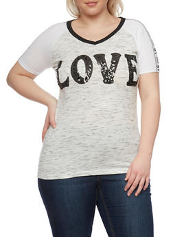 Plus Size Sequined Love Graphic Ringer Top - 1912033878539