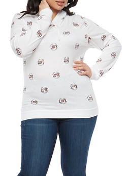 Plus Size Love Graphic Hooded Top - 1912033879235