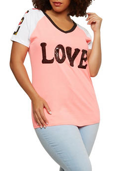 Plus Size Love Sequin Graphic T Shirt - 1912033879345