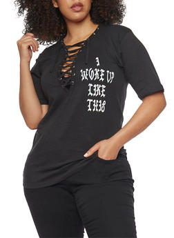 Plus Size Lace Up Flawless Graphic Tee - BLACK - 1912033879645