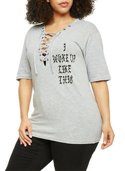 Plus Size Lace Up Flawless Graphic Tee - HEATHER - 1912033879645