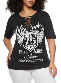 Plus Size Lace Up NY College Graphic Top - BLACK - 1912033879755