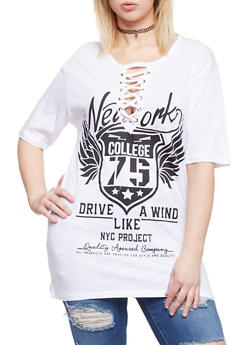 Plus Size Lace Up NY College Graphic Top - WHITE - 1912033879755