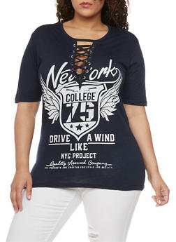 Plus Size Lace Up NY College Graphic Top - NAVY - 1912033879755