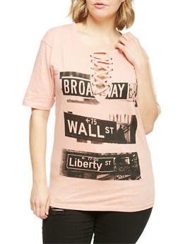 Plus Size Lace Up NY Scene Graphic Tee - MAUVE - 1912033879805