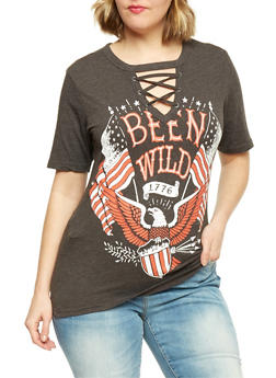 Plus Size Lace Up Been Wild Graphic T Shirt - CHARCOAL - 1912033879885