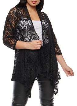 Plus Size Lace Cardigan - 1912034381777