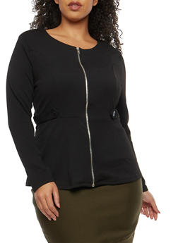 Plus Size Zip Up Peplum Top - BLACK - 1912038340153