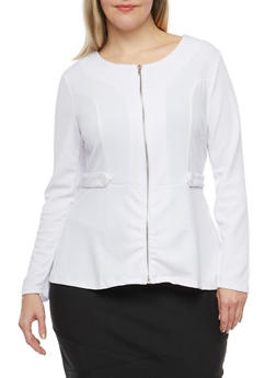 Plus Size Zip Up Peplum Top - 1912038340153