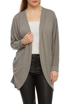 Plus Size Cocoon Cardigan With Dolman Sleeves,GRAY,medium
