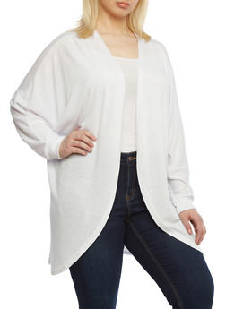 Plus Size Cocoon Cardigan With Dolman Sleeves,WHITE,medium