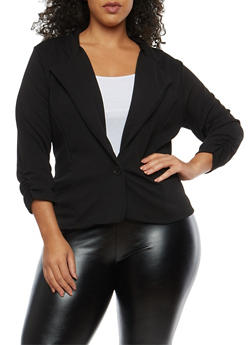 Plus Size Ruched Sleeve Blazer - 1912038340516