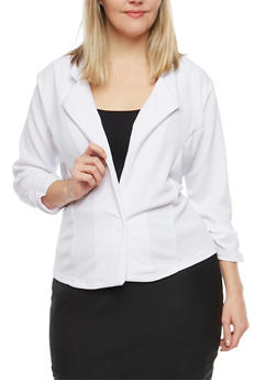 Plus Size Ruched Sleeve Blazer - 1912038340516