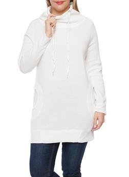 Plus Size Sweatshirt with Drawstring Funnel Neck - 1912038341401