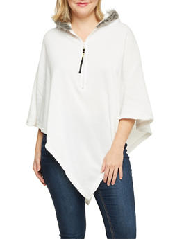 Plus Size Poncho with Faux Fur Trimmed Hood - WHITE - 1912038341403