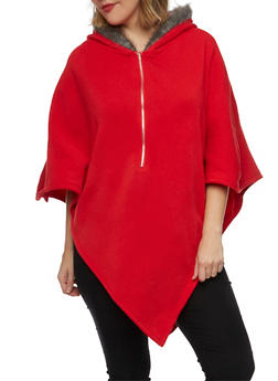 Plus Size Poncho with Faux Fur Trimmed Hood - 1912038341403