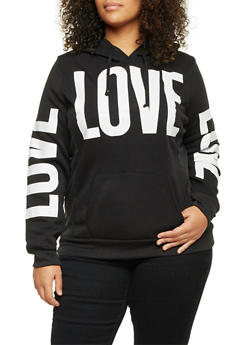 Plus Size Hoodie with Love Print - 1912038341421
