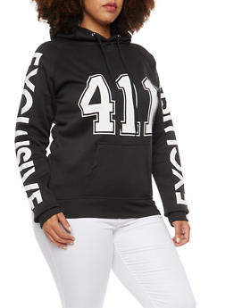 Plus Size Hoodie with 411 Exclusive Graphic - 1912038341422