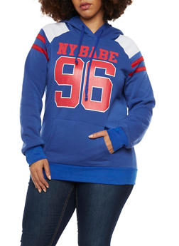 Plus Size Hoodie with NY Babe Graphic - 1912038341423