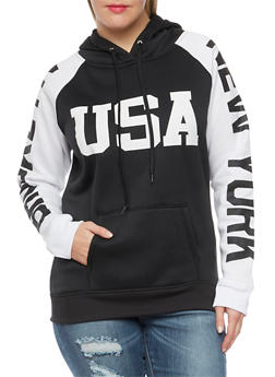 Plus Size Hoodie with New York Graphics - 1912038341424
