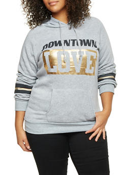 Plus Size Hoodie with Downtown Love Print - 1912038341427