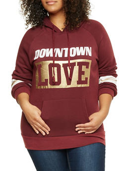 Plus Size Hoodie with Downtown Love Print - BURGUNDY - 1912038341427