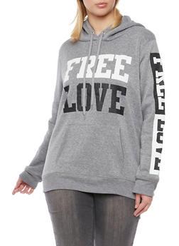Plus Size Free Love Graphics Hoodie - 1912038341429
