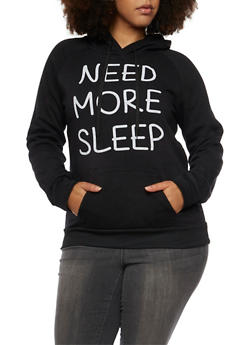 Plus Size Hoodie with Need More Sleep Print - 1912038341432