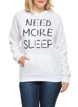 Plus Size Need More Sleep Print Hoodie - 1912038341432