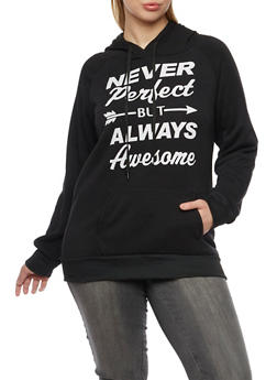 Plus Size Fleece Hoodie with Never Perfect Graphic - 1912038341433