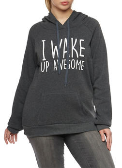 Plus Size Hoodie with I Wake Up Awesome Graphic - 1912038341436
