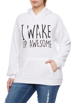 Plus Size Hoodie with I Wake Up Awesome Graphic - WHITE - 1912038341436