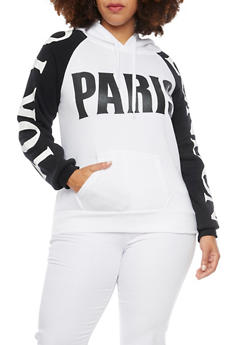 Plus Size Hoodie with Paris Tokyo and London Graphics - BLACK/WHITE - 1912038341440