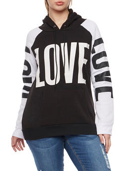 Plus Size Hoodie with Love Graphics - 1912038341442