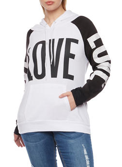 Plus Size Hoodie with Love Graphics - WHITE - 1912038341442