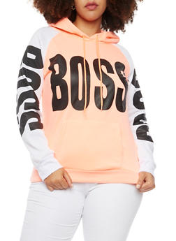 Plus Size Graphic Hoodie with Boss Print - 1912038341443