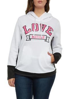 Plus Size Fleece Hoodie with Love Nation Graphic - 1912038341480